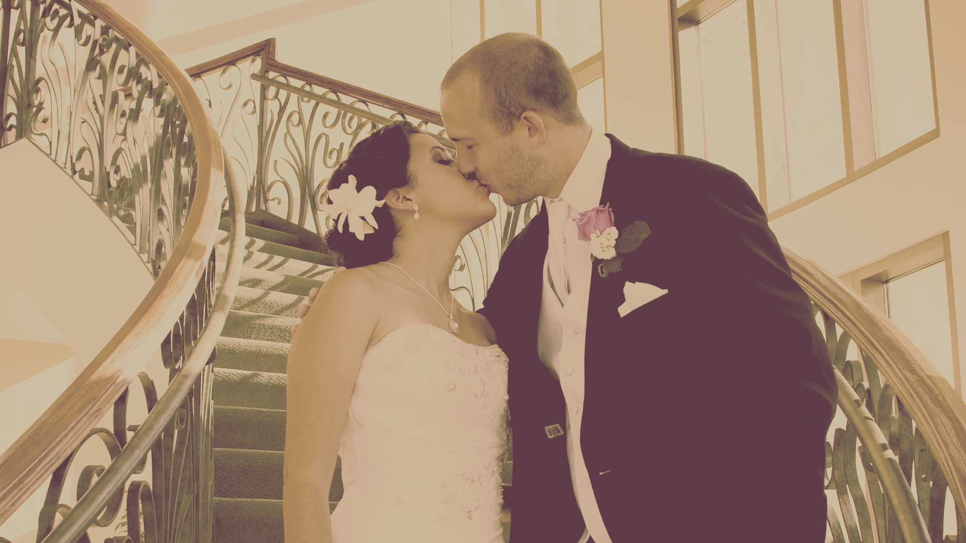 San Antonio Weddings Bride Groom Stair Kiss